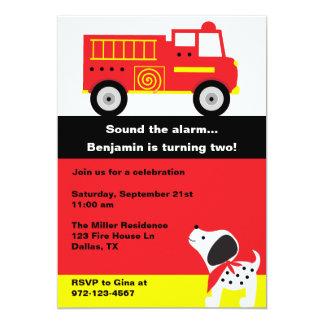 Invitaciones del coche de bomberos invitación 12,7 x 17,8 cm