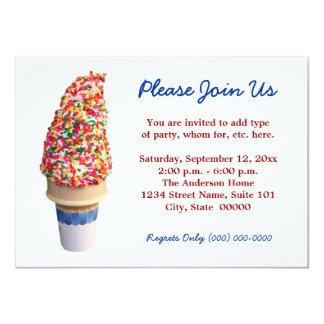 Invitaciones del cono de helado invitación 11,4 x 15,8 cm