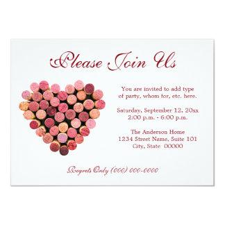 Invitaciones del corazón del corcho del vino invitación 11,4 x 15,8 cm