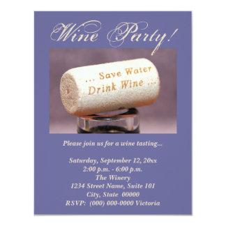 Invitaciones del corcho del vino invitación 10,8 x 13,9 cm