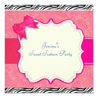 invitaciones del cumpleaños de la cebra invitación 13,3 cm x 13,3cm