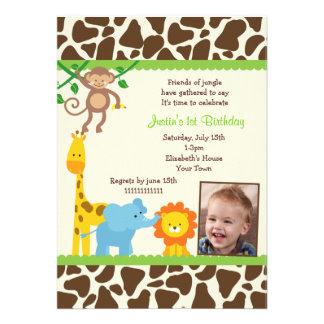 Invitaciones del cumpleaños de la foto del safari