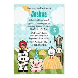 Invitaciones del cumpleaños de la granja del invitación 12,7 x 17,8 cm