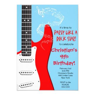 Invitaciones del cumpleaños de la guitarra de la invitación 12,7 x 17,8 cm