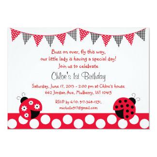 Invitaciones del cumpleaños de la mariquita comunicados
