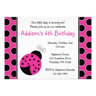 Invitaciones del cumpleaños de la mariquita de las