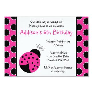 Invitaciones del cumpleaños de la mariquita de las invitación 12,7 x 17,8 cm