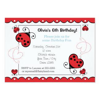 Invitaciones del cumpleaños de la mariquita del comunicados personales
