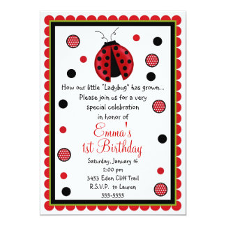 Invitaciones del cumpleaños de la mariquita invitación 12,7 x 17,8 cm