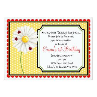 Invitaciones del cumpleaños de la mariquita y de invitación 12,7 x 17,8 cm
