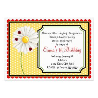 Invitaciones del cumpleaños de la mariquita y de l invitacion personalizada