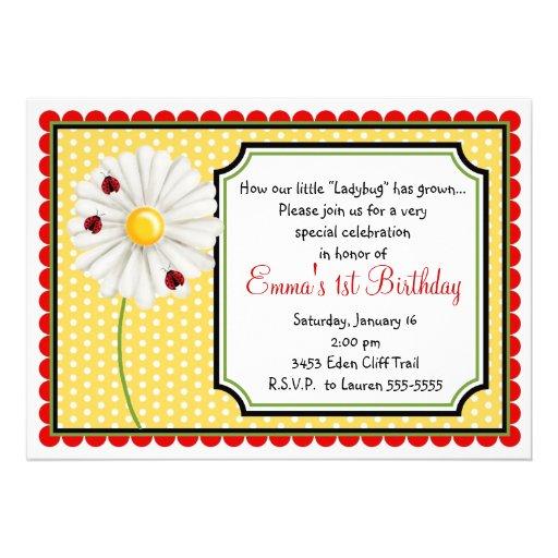 Invitaciones del cumpleaños de la mariquita y de l anuncio personalizado
