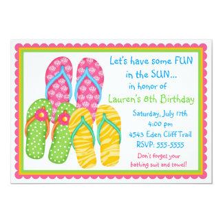 Invitaciones del cumpleaños de los flips-flopes invitación 12,7 x 17,8 cm