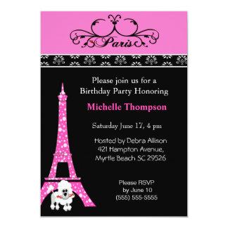 Invitaciones del cumpleaños de París de la torre Invitación 12,7 X 17,8 Cm