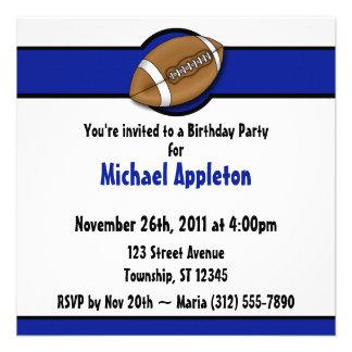 Invitaciones del cumpleaños del azul real del fútb comunicados personales