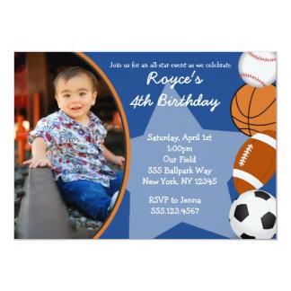 Invitaciones del cumpleaños del baloncesto del invitación 12,7 x 17,8 cm