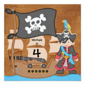 Invitaciones del cumpleaños del barco pirata del invitación 13,3 cm x 13,3cm