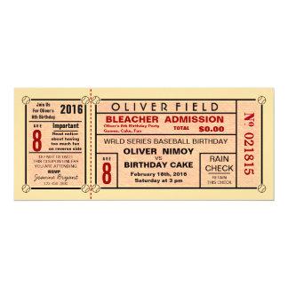 Invitaciones del cumpleaños del béisbol del boleto invitación 10,1 x 23,5 cm