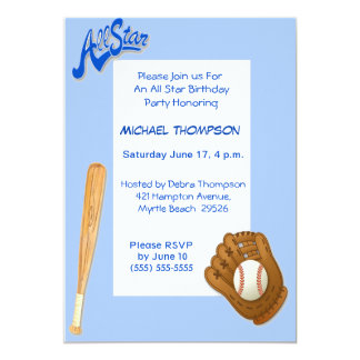 Invitaciones del cumpleaños del béisbol invitación 12,7 x 17,8 cm