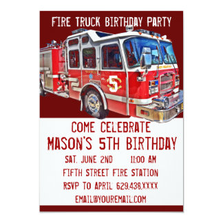 Invitaciones del cumpleaños del bombero del motor invitación 12,7 x 17,8 cm