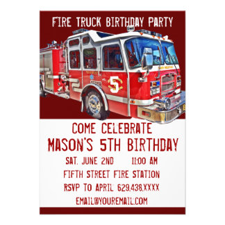 Invitaciones del cumpleaños del bombero del motor comunicado personal