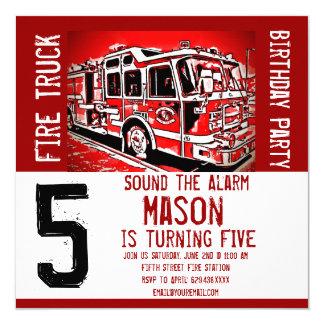 Invitaciones del cumpleaños del bombero del motor invitación 13,3 cm x 13,3cm