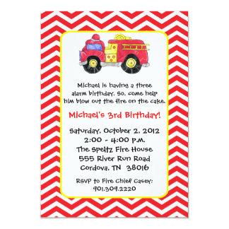 Invitaciones del cumpleaños del coche de bomberos invitación 12,7 x 17,8 cm