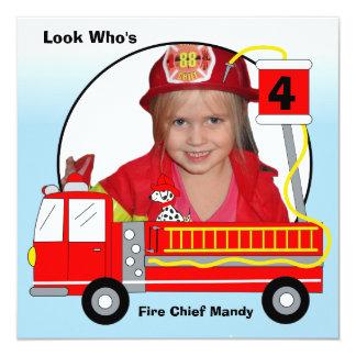 Invitaciones del cumpleaños del coche de bomberos invitación 13,3 cm x 13,3cm