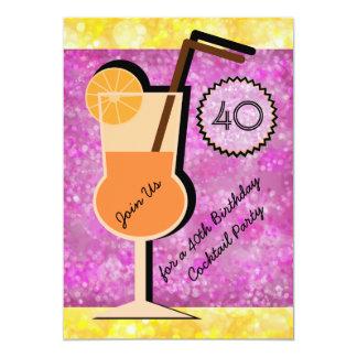 Invitaciones del cumpleaños del cóctel de Bokeh Invitación 12,7 X 17,8 Cm