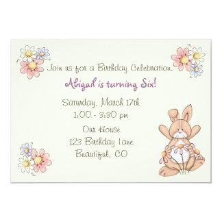 Invitaciones del cumpleaños del conejito y de las invitación 12,7 x 17,8 cm