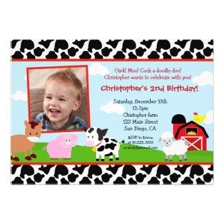Invitaciones del cumpleaños del corral de la granj comunicados