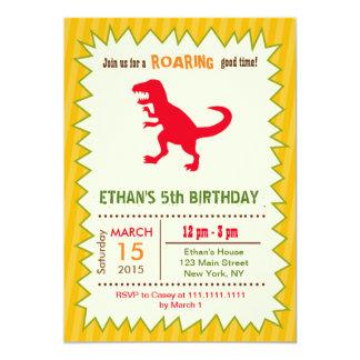 Invitaciones del cumpleaños del dinosaurio invitación 12,7 x 17,8 cm