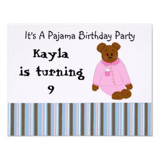 Invitaciones del cumpleaños del fiesta de pijama comunicado personal