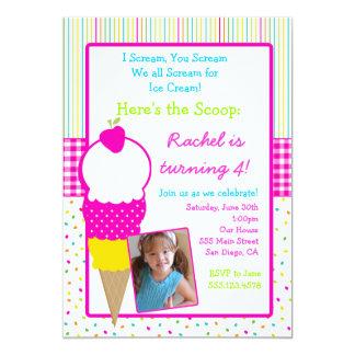 Invitaciones del cumpleaños del fiesta del helado invitación 12,7 x 17,8 cm