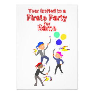Invitaciones del cumpleaños del fiesta del pirata