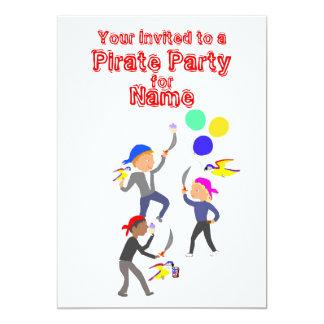 Invitaciones del cumpleaños del fiesta del pirata invitación 12,7 x 17,8 cm