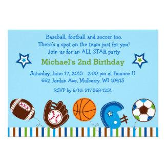 Invitaciones del cumpleaños del fútbol del béisbol