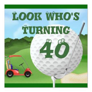 Invitaciones del cumpleaños del golf de la invitación 13,3 cm x 13,3cm