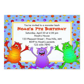 Invitaciones del cumpleaños del golpe del monstruo invitación 12,7 x 17,8 cm