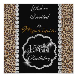 Invitaciones del cumpleaños del GUEPARDO BLING de Invitación 13,3 Cm X 13,3cm