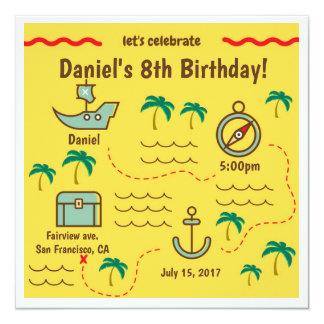 Invitaciones del cumpleaños del mapa del tesoro