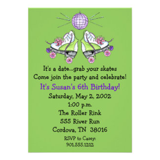 Invitaciones del cumpleaños del patín de ruedas