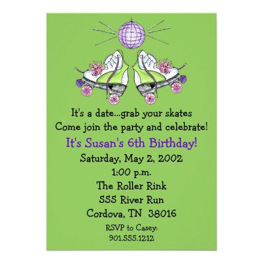 Invitaciones del cumpleaños del patín de ruedas invitacion personal