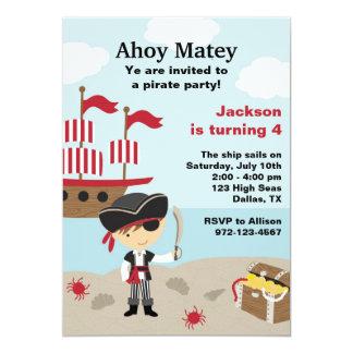 Invitaciones del cumpleaños del pirata invitación 12,7 x 17,8 cm