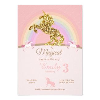 Invitaciones del cumpleaños del unicornio invitación 12,7 x 17,8 cm