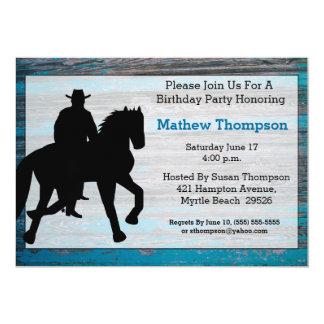Invitaciones del cumpleaños del vaquero invitación 12,7 x 17,8 cm