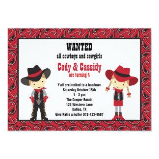 Invitaciones del cumpleaños del vaquero y de la invitación 12,7 x 17,8 cm