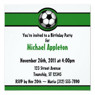 Invitaciones del cumpleaños del verde del balón de invitación 13,3 cm x 13,3cm