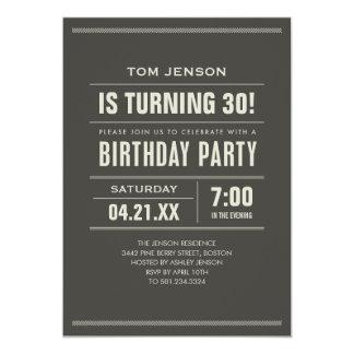 Invitaciones del cumpleaños para los adultos invitación 12,7 x 17,8 cm