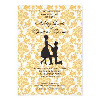 Invitaciones del damasco de la mandarina invitación 12,7 x 17,8 cm
